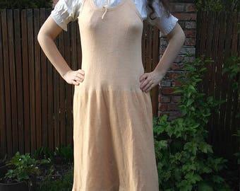 1920s peach wool slip or sweater dress
