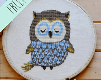 FREE! Owl Cross Stitch pattern xstitch chart owl pattern modern cross stitch pattern chart PDF Instant download