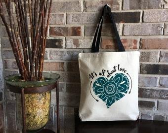 Heart Tote Bag - Customized Bridesmaid Gift Bag - Maid of Honor - Wedding Bag - Canvas Tote Bag - Kindness Matters - Teacher Gift - Yoga Bag