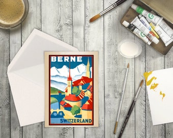 High Resolution from a Vintage Travel Poster Berne,Switzerland in Europe. Blank Card or Greeting Card  for Traveler. Scenic Alps Village.