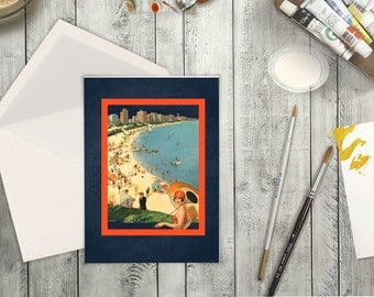 High Resolution Card from a Vintage Travel Poster of Chicago, Illinois Beach. Greeting Card for Any Occassion of Sea Side Beach in Chicago.