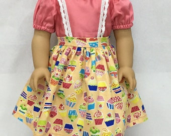 Handmade 18 inch doll clothes - Pink Blouse & Cupcake Jumper with Lace