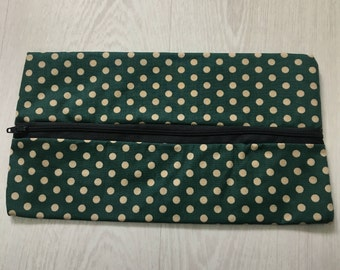 Green Polka Dot Pencil Case or Makeup Bag