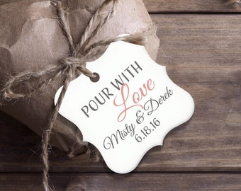 Custom Gift Tags,  Pour With Love Tag, Set of 12 Personalized Gift Tag, Scallop Tag, Circle Tag, Square Tag PC0202