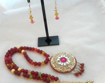 20 Inch Beaded Necklace with Hand-made Pendant, Red Glass Beads, and Tiaria Crystals (1295)