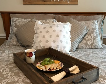 Rustic Wood Breakfast Tray, Farmhouse Serving Tray
