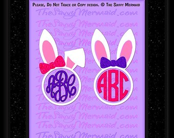 Easter Bunny Monogram SVG- Easter SVG file- Vinyl Easter Shirt Svg- Easter Monogram svg- Cut file Cricut- Silhouette Dxf Design- Iron on Jpg