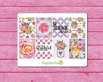 Floral Romance Planner Sticker Kit (EC Size)
