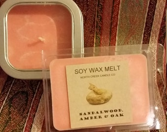 Sandalwood, Amber and Oak 5 oz Soy Candle and wax melt TAKE20ONSOY coupon.  20% off
