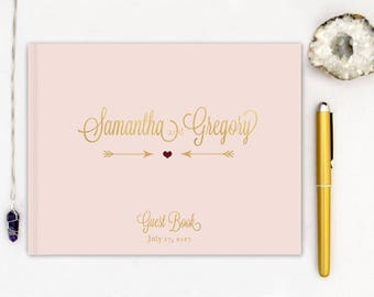 Real Gold Foil Wedding Guest Book Landscape Gold Guest Book Gold Horizontal Guestbook pink gold Guest book Script Gold Foil Guest Book blush
