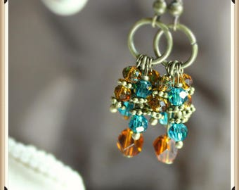 Amber and Blue Crystal Cluster Style Earrings