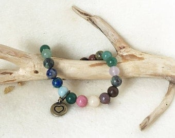 Heart Chakra Multi Colored Gemstone Bracelet, Crystal Beaded Stretch Bracelet with Charm, Chakra Balancing Jewelry