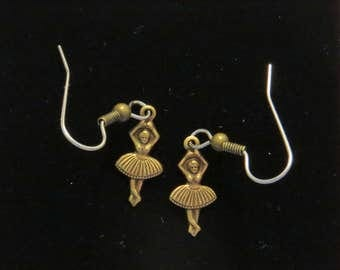 Ballet Dancer Earrings Antiqued Brass Tiny Ballerina Dancers Dancing Ballerinas EG567B