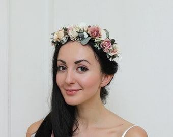 Beige rose eucalyptus flower crown Floral crown Boho wedding Flower headpiece Bridal flower crown Wedding hair wreath Girl flower crown