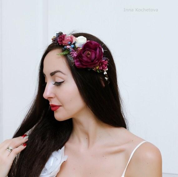 Flower Crown Purple: Purple Flower Crown Floral Crown Wedding Hair Wreath Bridal