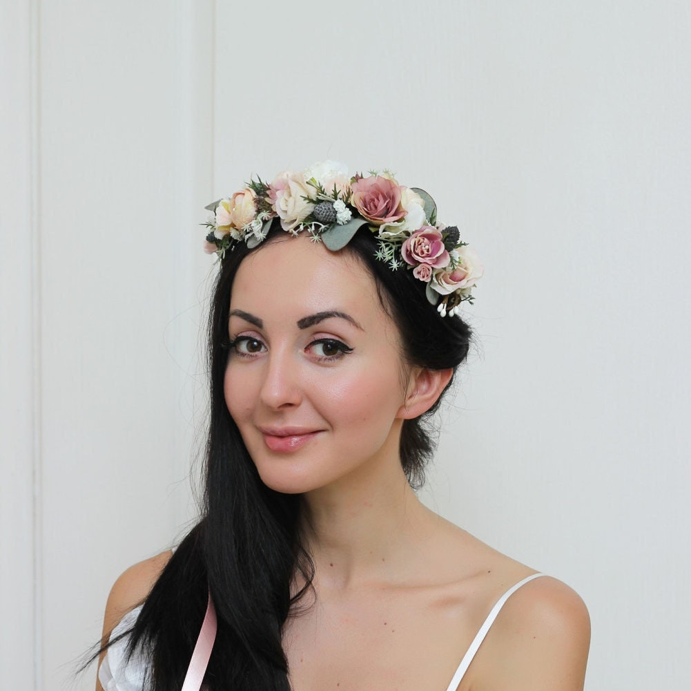 flower crown wedding hair beige eucalyptus flower crown floral crown boho wedding 4156