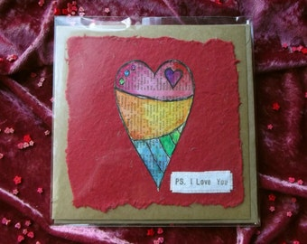 Hand Painted Greetings Card - I Love You, Rainbow Heart - MADE TO ORDER
