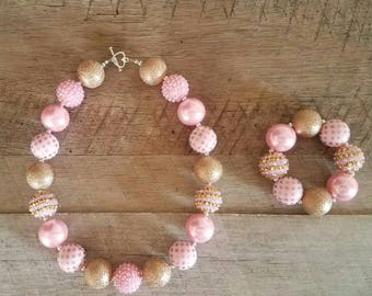 Pink and Gold Chunky Necklace, Bubblegum Bead Necklace, Chunky Beads, Baby Bubblegum Necklace, First Birthday, Pink and Gold Necklace