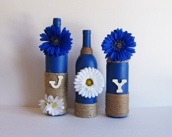 Joy Bottle Set, Decorative Bottles, Twine Wrapped, Wine Bottle Decor, Country Decor, Rustic Decor, Rustic Style, Wine Bottle Set