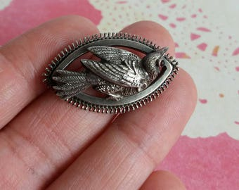 Vintage 1900s Edwardian Silver Bird Brooch - Highly detailed - in need of repair