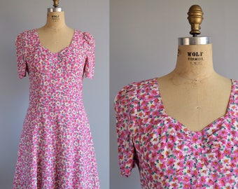 Santa Barbara dress - vintage 1980s floral sweetheart dress - 80s does 40s swing dress