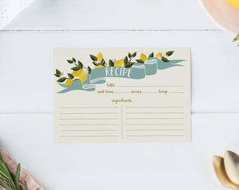 lemon recipe cards, recipe card set, 4x6 recipe cards, citrus kitchen, farm fresh, housewarming gift, bridal shower recipe cards