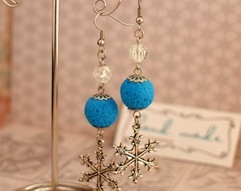 Big snowflakes earrings Blue beads earrings Handmade beads earrings Winter earrings Xmas jewelry Winter holiday gift Winter earrings