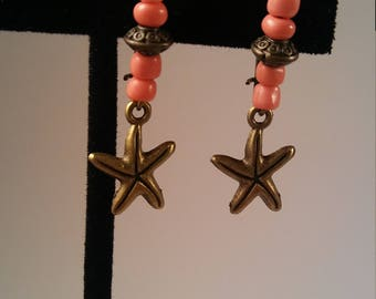 Antique Bronze Starfish Earrings - handcrafted antique bronze star starfish charm corral kidney wire earring mother's mom