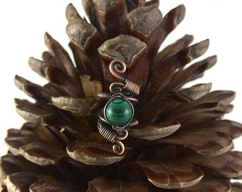 Oxidised Copper and Malachite Dreadlock bead.