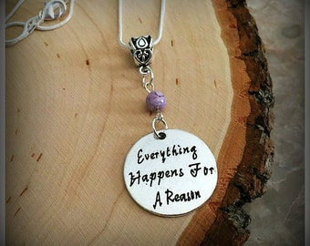 Everything Happens For A Reason Necklace, Czech Bead Necklace, Daughter Necklace, Mom Necklace, Sister Necklace, Charm Necklace