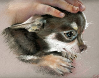 Chihuahua, custom dog art, mother's day gift, puppy portrait, custom dog painting, animal art, animal portrait, dog lover, artwork, animal