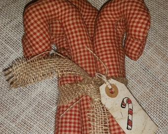 primitive red homespun candy canes tree ornaments, bowl fillers, Christmas wreath ornies, Christmas decor, Christmas gift, OFG, FAAP