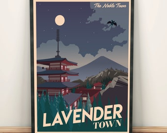 Pokemon Lavender Town | Travel Poster | Unframed