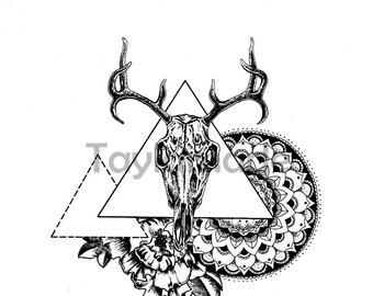 Deer Skull with peonies and mandala