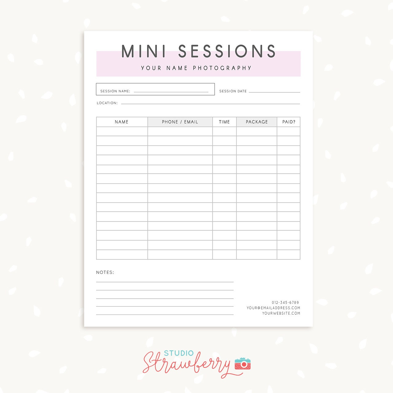 Mini session sign up form photography forms photography for Free mini session template