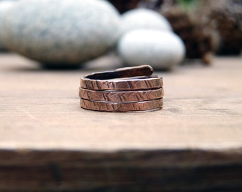 Multistrand copper ring. Hammared copper ring. Antiqued copper ring. Jewel vintage style. Gifts for her.