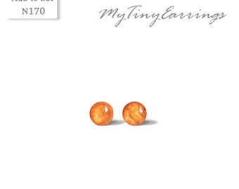 3mm Apricot Stud Earrings Mini Tiny Shimmery  - Stainless Steel Gold Plated Posts plus High Quality Epoxy Resin - Moon Line N170