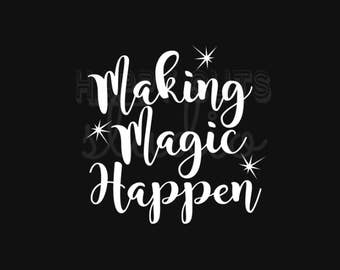 Making Magic Happen Disney Vacation Mom to be Maternity Pregnancy Announcement Matching Family Disney Iron On Decal Vinyl for Shirt 050