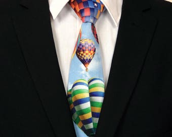 Hot Air Balloon Tie, Mens Necktie, Mens Tie, Hot Air Balloon, Balloon, Red, Blue, Yellow, Green, White, Wedding, Fathers Day, Birthday, Gift