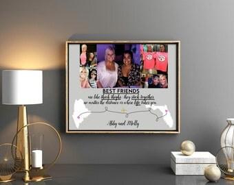 Best friend long distance gift Going away gift for friend or friends Long distance friendship Sister gift Brother gift Friends distance