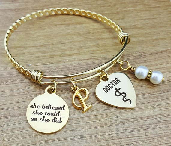 Gold Bangle Physician Gifts Doctor Gift Graduation Gift for Her Gift for Doctor Doctor Graduation Gift College Graduation Graduation Gift