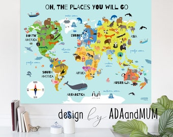 Animal planet. World map for kids. Continents, oceans, animals, compass. Printable, instant download. Oh the places you'll go