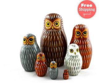 FREE Shipping * Nesting dolls for kids (7 pcs) * Matryoshka * Russian nesting doll * Babushka doll * Stacking dolls * Owl nesting dolls