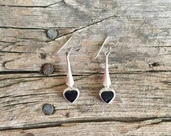 Vintage Sterling Silver Black Heart Dangle Earrings
