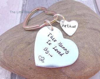 This Nanny Is Loved By, Nanny Keyring, Nanny Keychain, Personalised Keyring, Heart Keyring, Childrens Name, Gift For Nan, Grandma, Nanna