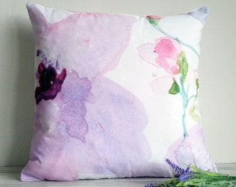 "Complete cushion, featuring my original watercolour design 'Must have flowers', 18"" x 18"" cotton canvas"