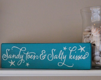 Rustic Sandy Toes & Salty Kisses Wood Sign, Beach Wedding Decor, Laguna Blue and White