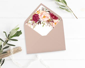 Burgundy Boho Floral Envelope Liner, Printable Marsala Floral Envelope Liner, Watercolor Peonies Envelope Liner Instant Download 120-W 120-G