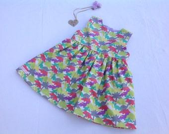 Baby girl dress, girls dress, dinosaur, toddler dress, girls clothing, baby outfit, baby gift, summer dress,