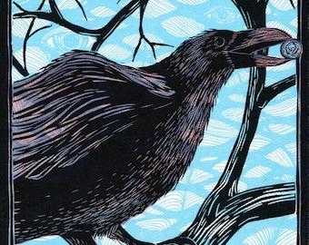 Corvus Corax: The Raven, Multi-color Linocut Print